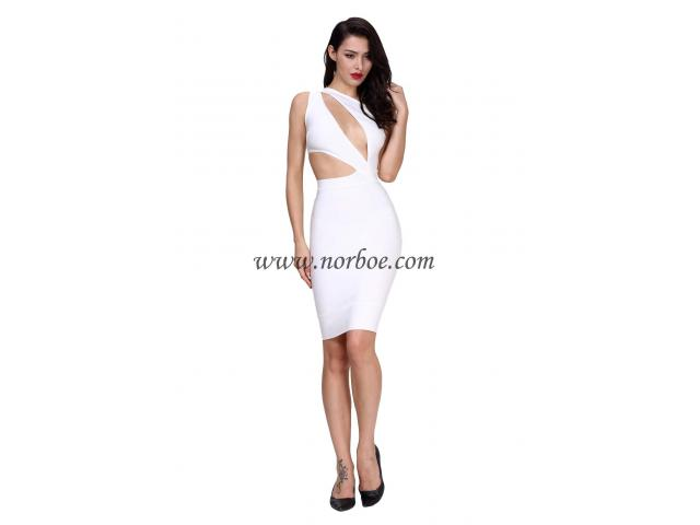Norboe White Cut Out One Shoulder Bandage Dress